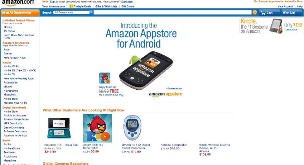 Amazon homepage in 2011